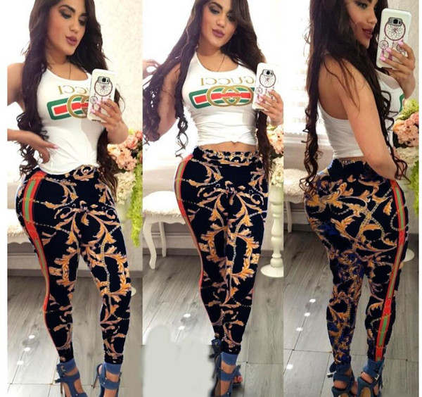 European station women set summer two pieces chain print outfits for women sexy 2 pieces tracksuit