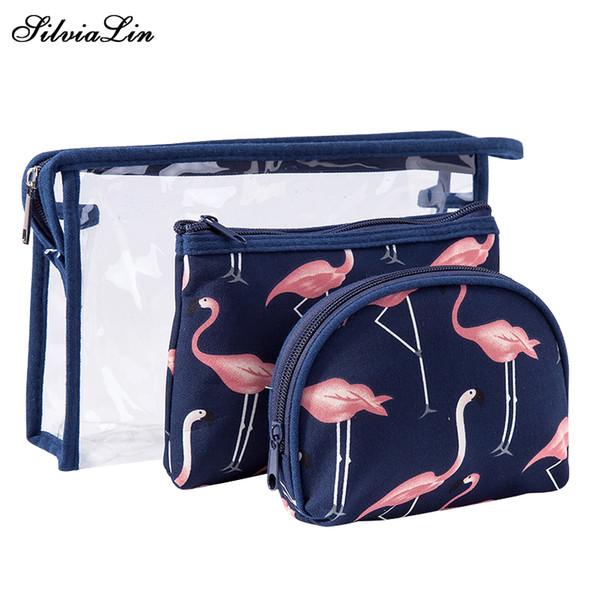 3Pcs/Set Women PVC Transparent Cosmetic Bag Flamingo Makeup Cases Zipper Girl Brushes Box Toiletry Organizer Travel Accessories