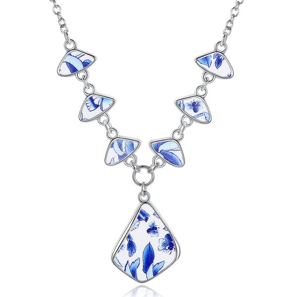 Simple imitation blue and white porcelain pendant necklace retro style floral pendant Chinese style women necklace wholesale