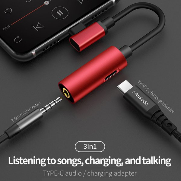 Mcdodo Type C Audio Cable Adapter Type C to 3.5mm Jack 2 in 1 Audio USB C Headphone Adapter for Samsung Xiaomi Huawei P20 S9 LG