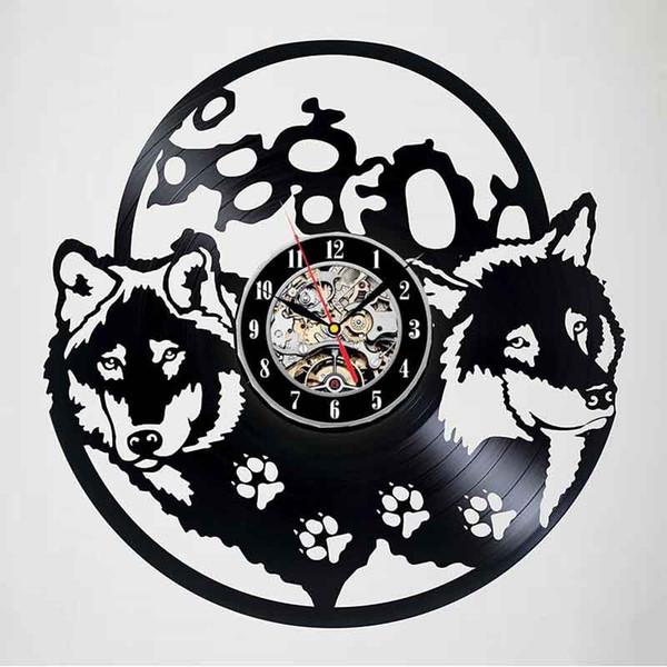 Lobos Decoración Vinyl Record Reloj de pared Arte Sala de estar fresca Decoración interior Arte hecho a mano Personalidad Regalo (Tamaño: 12 pulgadas, Color: negro)