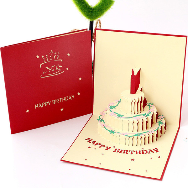 Happy Birthday Greeting Card.Creative 3d Handmade Greeting Cards Happy Birthday Gift Fashion Hollow Birtday Cake Card For Friend Party Supplies 15 15cm Singing Birthday Cards