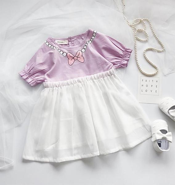 INS Kızlar yaz elbise çocuklar Yaylar inciler kolye baskılı prenses elbise çocuk yuvarlak yaka falbala kollu ekleme dantel tül elbise