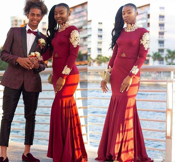 2019 elegante rojo de manga larga vestidos de baile de cuello alto sirena apliques de oro barrer tren estilo de Sudáfrica vestido de fiesta de noche formal