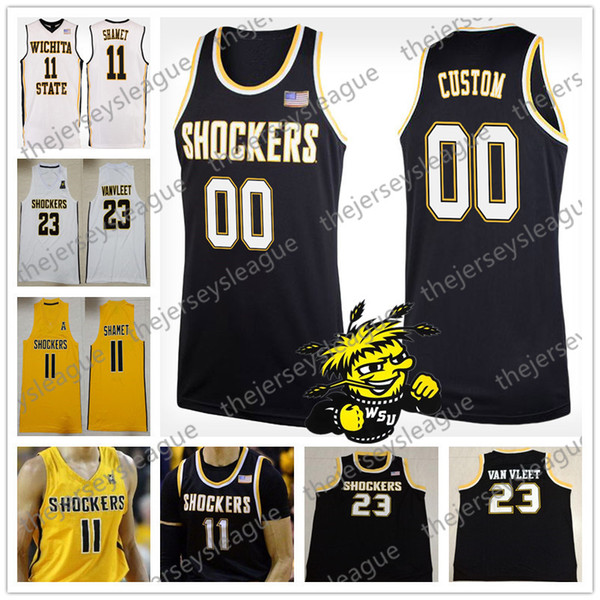 Custom Wichita State Shockers Any Name Any Number Black Gold White Personalized Stitched #11 Landry Shamet NCAA College Basketball Jersey