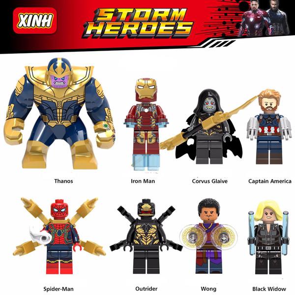 2020 Toptan minifigures Süper Kahramanlar Avengers Ironman Örümcek Adam Wang Kaptan Amerika Thanos Kara Dul Mini Yapı Taşları Şekil