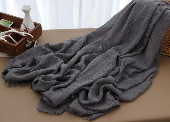 Multi-color monochrome crease cotton and linen scarf 180-100 extra long Muslim ladies ring velvet hooded scarf m3