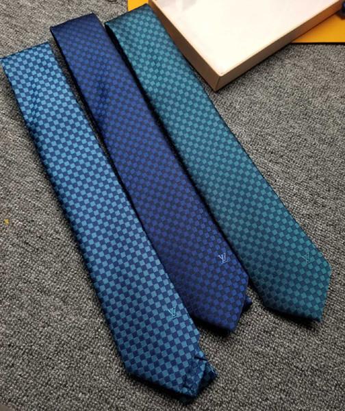 3 Stili Multicolor Blu scuro lago blu verde Mens Ties Cravatta seta stampa a mano Nuovo