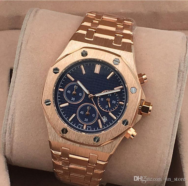 top popular All Subdials Work Hot Mens Watches Stainless Steel Quartz Wristwatches Stopwatch Luxury Watch Top Brand relogies for men Best Valentine Gift 2020