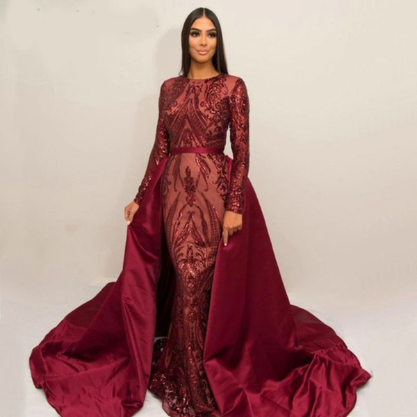 Luxury Burgundy Formal Evening Dresses 2019 Long Sleeve Zuhair Murad Dress Mermaid Jewel Neck Sequined Prom Gown With Detachable Train