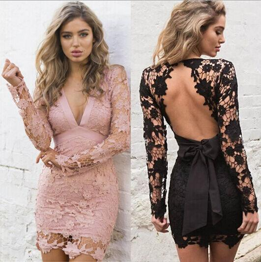 Floral Lace Women Solid Color Deep V Dress Lone Sleeve Hollow Out Slim Hem Formal Party Pink Mini Dress Ladies Sexy Backless
