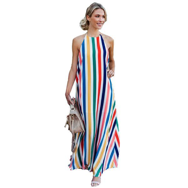 Verano Vestidos Largos Mujeres Rainbow Striped Beach Maxi Vestidos Sin Mangas Halter Backless Boho Robe Longue Femme 2019