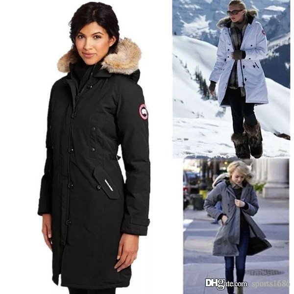 2019 canada brand women down parka new thick warm and windproof waterproof long ection lim olid color goo e down jacket female winter, Blue;black