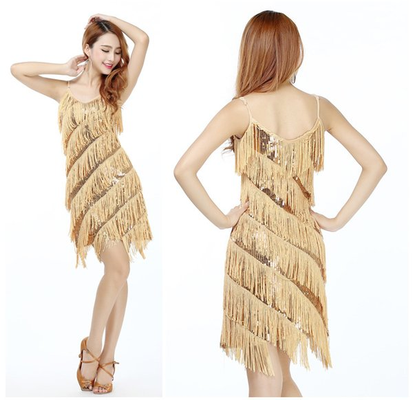 Hot Latin Dance Skirt New Adult Women's Costumes Sequins Straps Tassel Dress Latin Dance Stage Performance Clothing