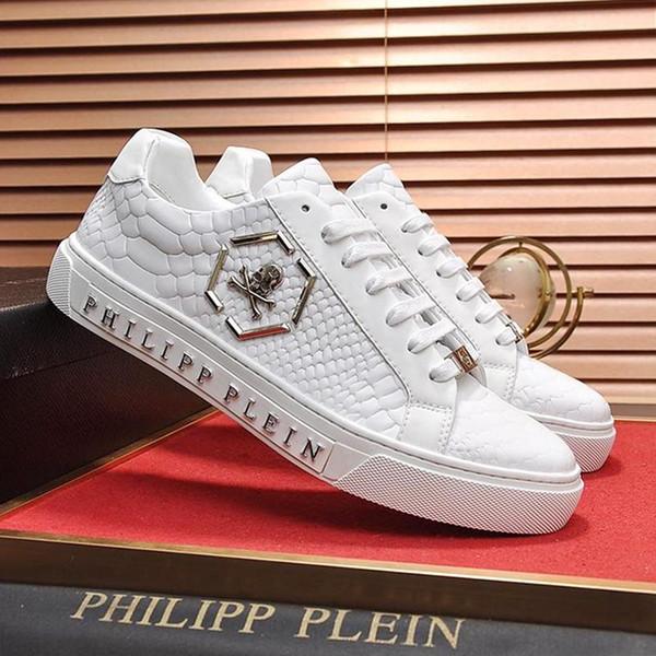 PhilippPleinPP Luxury Men Shoes Fashion Type Lo-Top Sneakers Hexagon Kick$ Python Zapatos de hombre with Origin Box Men Shoes Leat