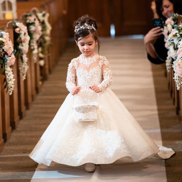 Sparkly Beaded Lace Flower Girl Dresses For Wedding Sequined Ball Gown Pageant Gowns Sweep Train Long Sleeves First Communion Dress