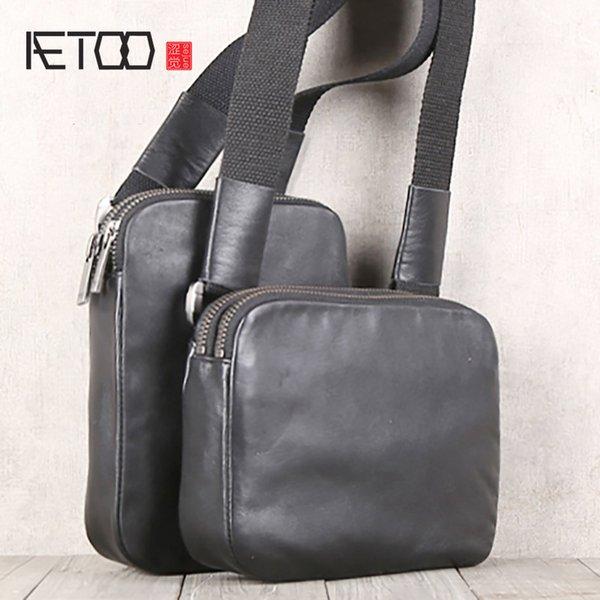 BJYL Handmade leather oblique cross-shoulder bag cowhide small storage bag