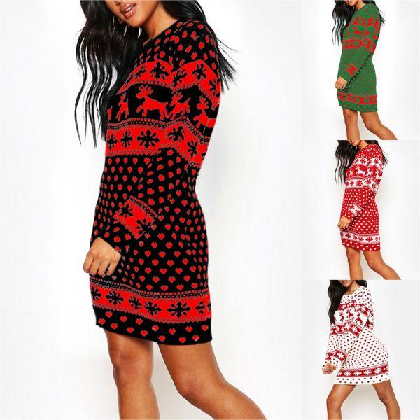 Elbise Kırmızı Mavi Siyah Renk S-2X Baskı Kadın Moda Kadın 2020 Yeni Geliş Casual Chrismas Stil Elbise Uzun Kollu için Chrismas Elbise