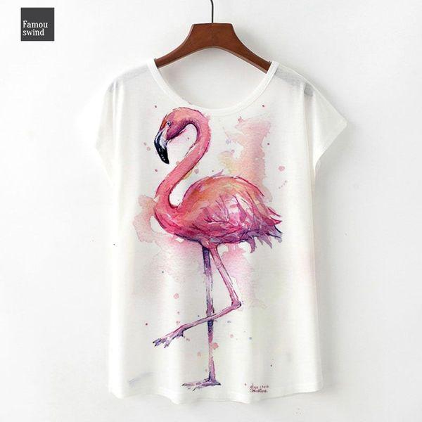 Tamaño M Camisas 3XL Plus Flamingos T verano de las mujeres de la muchacha de Kawaii camisetas de manga corta de Harajuku T Shirts Mujer Faldas