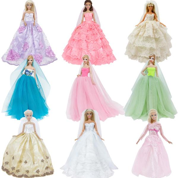 Soirée Robe de mariée à la main princesse boule longue robe jupe Vêtements Bridal Veil pour poupée Barbie Accessoires Cadeau de Noël Jouet
