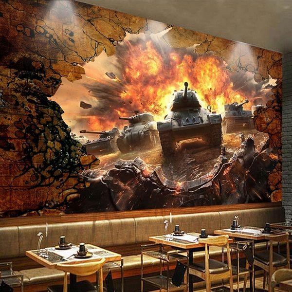 Compre Custom Photo Wallpaper 3d Tank Broken Wall Personalidad Tooling Poster Mural Wallpaper Para Restaurante Cafe Fondo Decoración De Pared A 3418