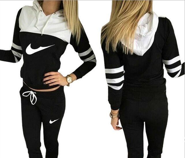 Schlussverkauf! Neue Frauen Aktiv-Set Trainingsanzüge Hoodies Sweatshirt + Hose Laufsport-Trainingsanzug 2-teilig Jogging-Sets survetement femme Kleidung