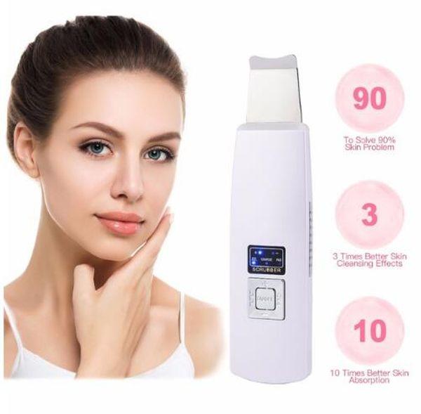 Purificador de pele de íon ultra-sônico Cuidados faciais Limpador de ultra-som de remoção de cravo Extrator de casca de cara Dispositivo de beleza de pele