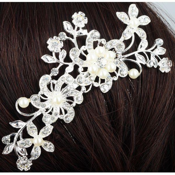 Wedding Elegant Five-Petal Crystal Bride Hair Comb Flashing Ornaments Rhinestone Pearl Bridal Hair Clip Accessories Jewelry