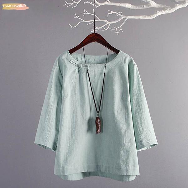Plus Size Estate 4 Vintage 3 manica in cotone Solid camicia di lino femminile lavoro occasionale Blusas tunica Top Femininas