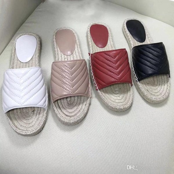 New Women Leather espadrille sandal Designer platform shoes Lady Straw Cord Luxury slipper with the Double Metal big size