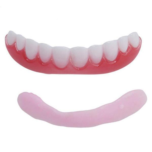 Broche de presión en la sonrisa de dientes falsa de la cubierta de silicona de ajuste cómodo Flex simulación falsos dientes superiores cosmética artificiales para mujeres de los hombres