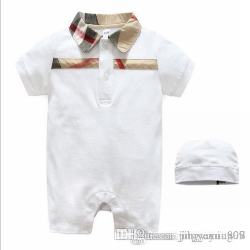 Розничная Лето с коротким рукавом Baby Romper Хлопок Воротник с капюшоном Детский комбинезон Детская одежда Сплошной цвет Для 0-24 лет