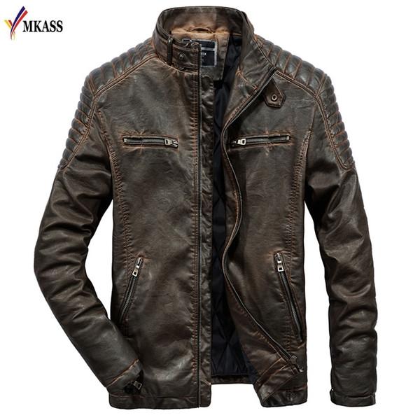 Nuova giacca in pelle da uomo autunno primavera vera pelle di capra di pecora vera marca nero bomber maschio motociclista cappotto da uomo