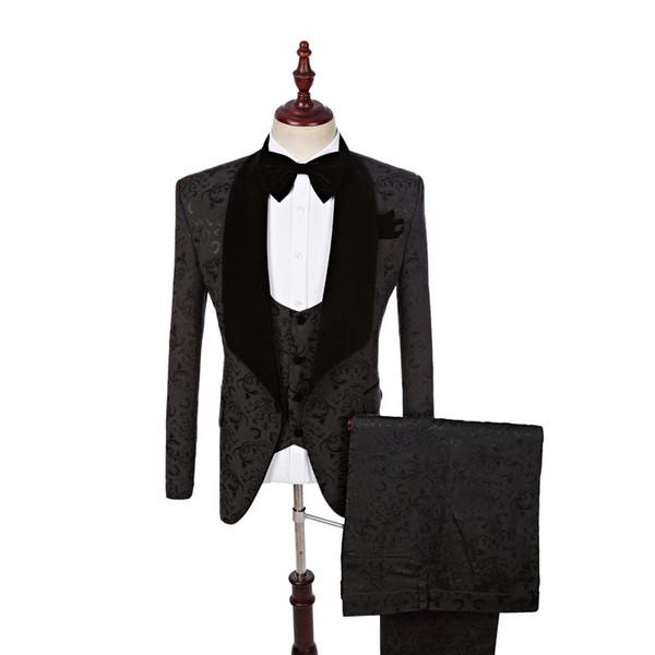 Men's suits fashion black pattern suit three-piece suit (jacket + pants + vest) business casual suit wedding banquet dress