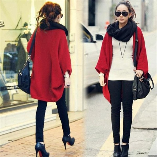 Hot Women Sweater Coat Cardigans Jacket Winter Casual Korea Loose Shawl Batwing Sleeves Lady Knit Woolen Sweaters Wholesale