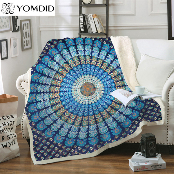 Mandala Series Blanket Flower Pattern Thick Blankets Coral Velvet Fabric Tapestry Thickened double-layer Blanket for Sofa decor