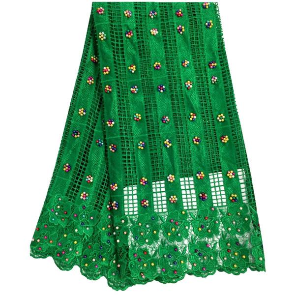 Soluble Dans L'eau Vert Chimique Africain Guipure Dentelle Tissu Brodé Cordon Dentelle Tissu De Haute Qualité Pour La Robe De Mariage Nigérian