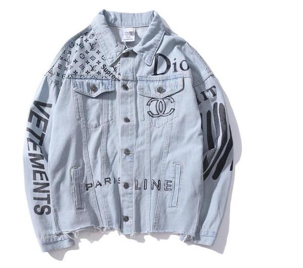 Vente chaude Automne Amant Denim Casual Noir Bleu Veste Tops Hommes Lettres Impression Vieux Streetwear Cowboy Veste Tailles M-2XL