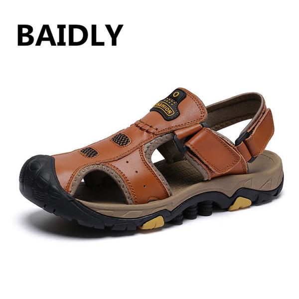 Men Sandals Genuine Split Leather Men Beach Roman Sandals  Casual Shoes Flip Flops Slippers Sneakers Summer Shoes