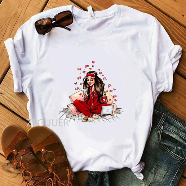 Fille en illustration rouge T-shirt d'été Harajuku Tee-shirts décontractés 100% coton blanc O-cou T-shirt pour femmes T-shirt super doux vendredi
