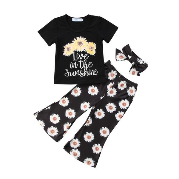 Boutique Toddler Girls Kids Sunflower Tops T-shirt Pants+Headband 3Pcs Outfit Set Clothes Size 2-6T