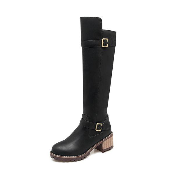 Women Shoes Knee-Length Boots Boots PU Round Head Square Heel Middle Heel 6cm Belt Buckle Side Zipper #MSM&1815