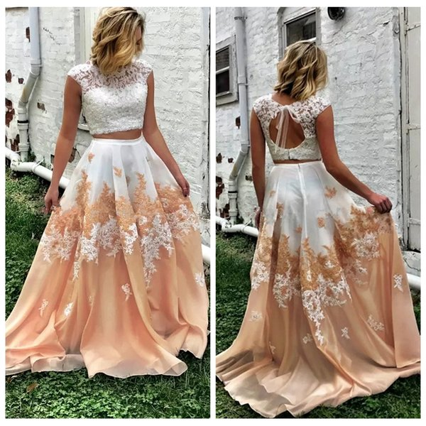 2019 Two Pieces Prom Dresses Lace Top Cap Sleeve Organza Open Back Plus Size Long Evening Formal Party Gowns
