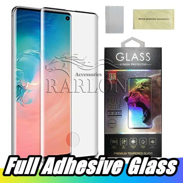 Verre trempé pleine colle pour Samsung Galaxy S10 Plus 5G S9 S8 Note 10, plus empreinte digitale déverrouiller pris en charge Case amical Protecteur d'écran Film