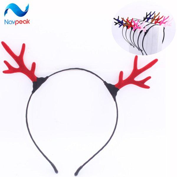 Menina do Natal do 100PCS / LOT Reindeer Antler cabelo Hoop Headband Headwear para crianças de Natal Costume Party Decoration