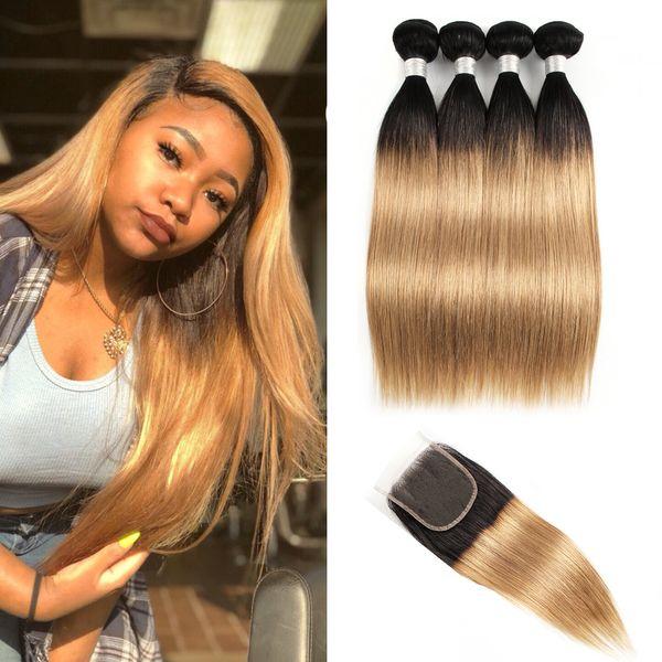 KissHair Indian Straight Hair Weave 1B27 Dark Root Honey Blonde Extensions Ombre Human Hair 4 Bundles con cierre de encaje 5pcs / set
