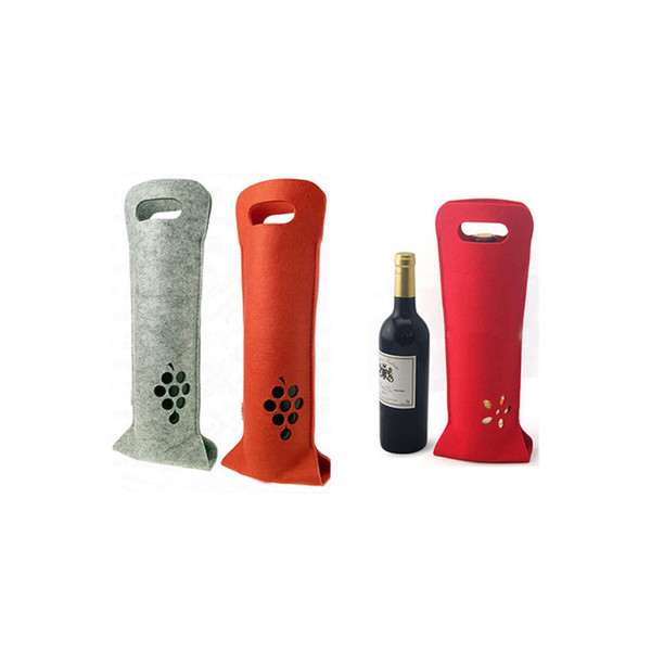 Felt Wine Tote Bag Bottle Carrier 40x14cm Wine Beer Bottle Gift Packing Bags Outdoor Party Wine Box Multi Colors
