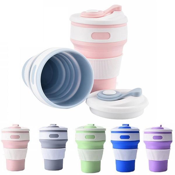 Pliable Tasse de café Pliable Voyage silicone tazas Portable pour l'extérieur Camping Randonnée pique-nique Bureau pliant tasses d'eau MMA2875
