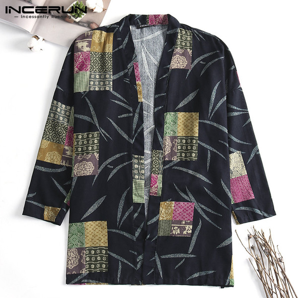 2019 Ethnic Mens Trench Long Sleeve Tops Cloak Hiphop Cardigan Autumn Trench Fashion Coats 5XL Femininas Outwear Hombre Mantle