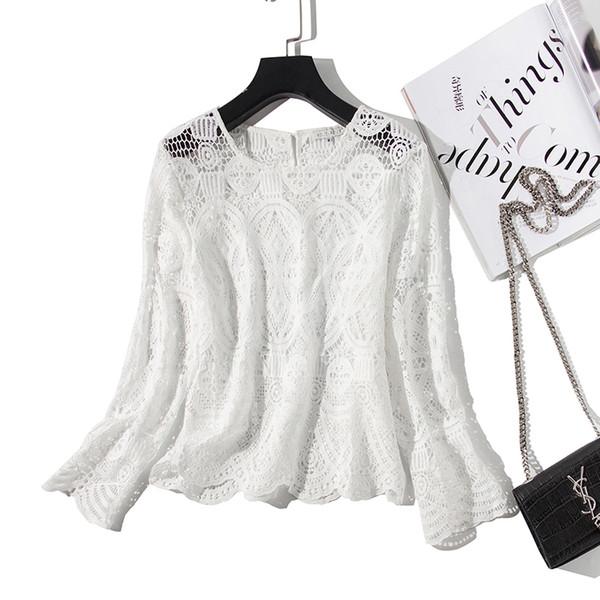 Blanc Creux Out Blouse Femmes Dentelle Boho Korean Lolita Streetwear Shirt Femmes Hauts De Lait De Soie Blusas Femmes Chemises 2019
